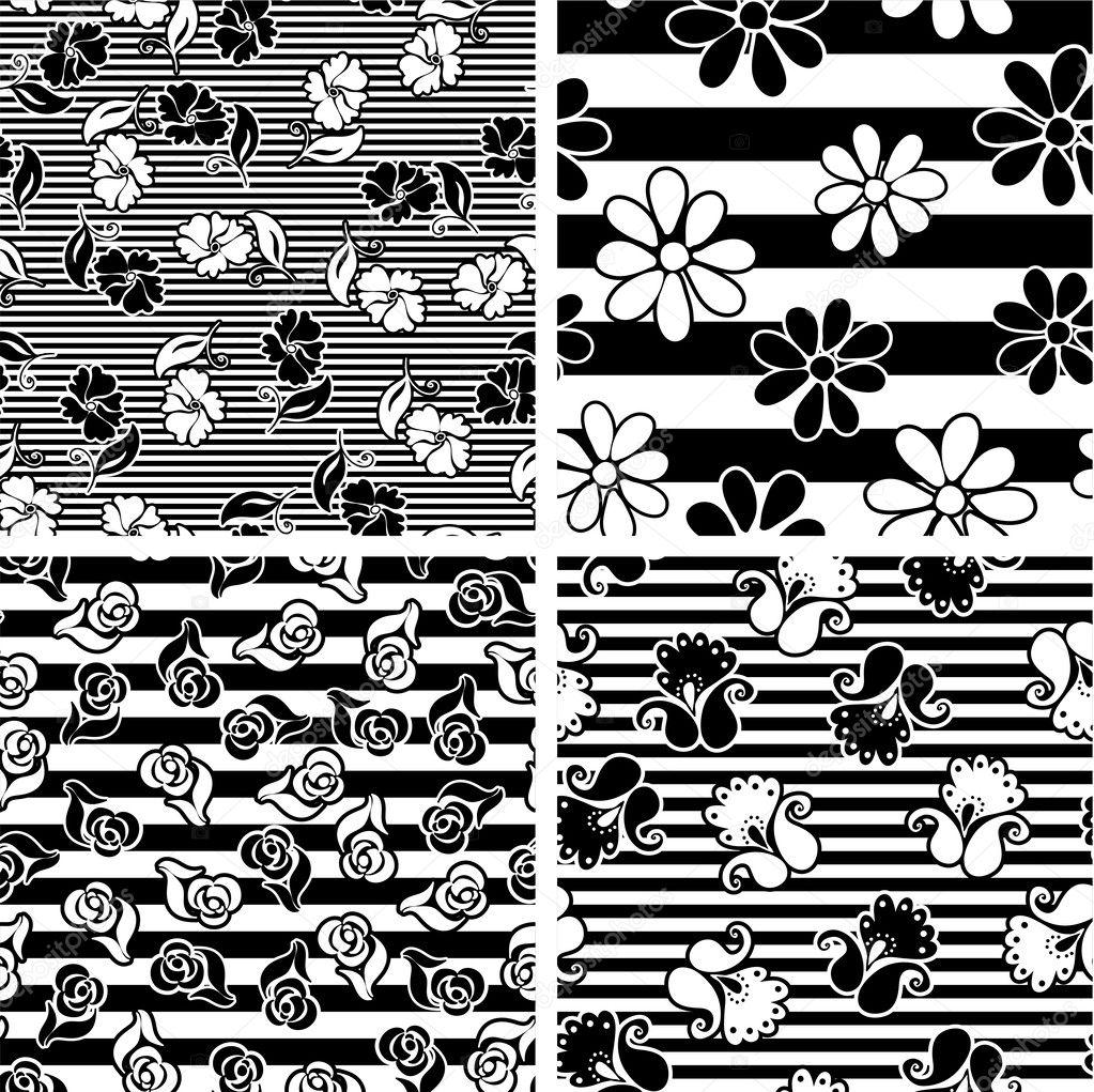 向量设置与单色无缝花纹矢量背景纺织设计