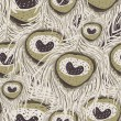 Seamless vector hand-drawn pattern with a heart and a feather — Stok Vektör