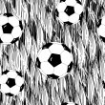 Seamless football wallpaper soccer on grass background — Stock Vector #26776661