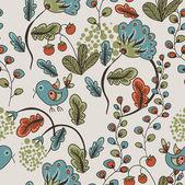 Smidig konsistens med blommor, jordgubbar och fåglar — Stockvektor