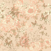 Floral seamless pattern with butterflies and roses in vintage style — Stock Vector