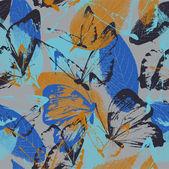 蝶との葉の背景 — ストックベクタ