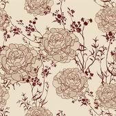 Flor romántica fondo vintage retro floral de patrones sin fisuras — Vector de stock