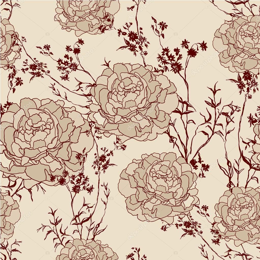 Romantic Flower Vintage Background Seamless Retro Floral