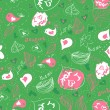 Seamless pattern with hearts and birds — Stok Vektör