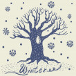 Vector tree winter background — Stock Vector