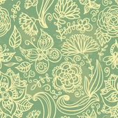 Butterflies and flowers background — Stock vektor