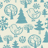 Seamless vector pattern of trees and leaves — Stock Vector