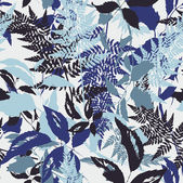 Resumen de patrones sin fisuras con hojas y flores — Vector de stock