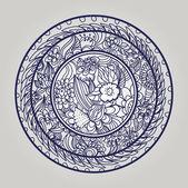 стильный цветочные круг — Cтоковый вектор