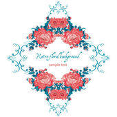 Frame lace-like vintage template with roses — Stock Vector