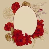 Vintage rosen oval frame — Stockvektor