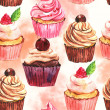 Watercolor seamless cupcake background — Stock Photo
