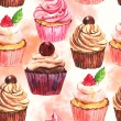 Watercolor seamless cupcake background — Stock Photo #27168015