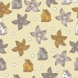 Seamless pattern with flowers and houses Vector vintage background. — Stock Vector