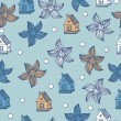 Stock Vector: Seamless pattern with flowers and houses Vector vintage background.