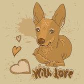 Perro con tarjeta de felicitación de corazón con amor en estilo vintage — Vector de stock