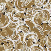 Seamless floral background pattern with waves and curl — Stock Vector