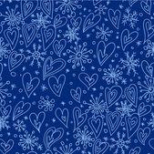 Flocons de Noël avec un cœur de dessin animé fond de Noël — Vecteur