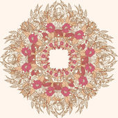 Frame lace-like vintage template with roses Stylish circle background — ストックベクタ