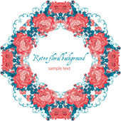 Frame lace-like vintage template with roses Stylish circle background — Vector de stock