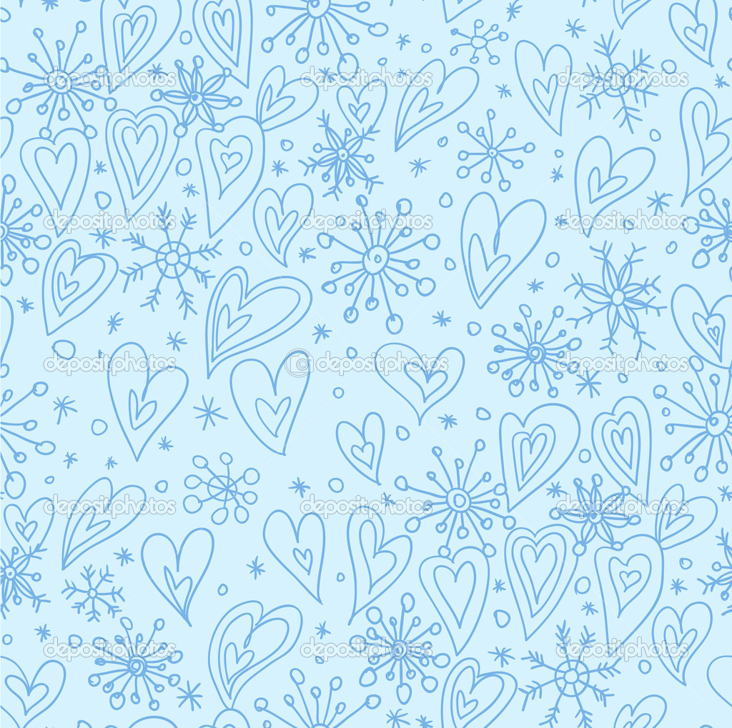 Christmas snowflakes with hearts cartoon christmas background jpg