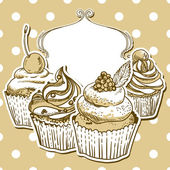 Retro frame with cupcake — Stockvector