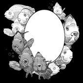 Cadre monochrome avec poisson — Vecteur