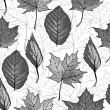 Black and white seamless background with leaves — Stock Vector