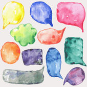 Watercolor speech bubbles — Stock Vector
