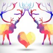 Silhouette a deer of geometric shapes with heart — Stock Vector