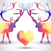 Silhouette a deer of geometric shapes with heart — Cтоковый вектор