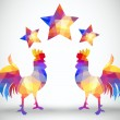 Abstract rooster of geometric shapes with stars — 图库矢量图片