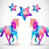 Abstract horse of geometric shapes with star — Stok Vektör