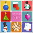 New Year Icons Set — Stock Vector