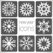 New Year Monochrome Icons Set with snowflakes. — Stock Vector
