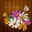 Beautiful flowers on a wooden texture. — Stock Vector #29859033