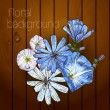 Beautiful flowers on a wooden texture. — Stock Vector #29859071
