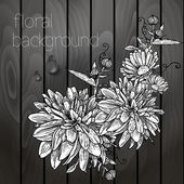 Beautiful flowers on a wooden texture. — Stock Vector