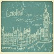 London doodles drawing landscape in vintage style — Imagen vectorial