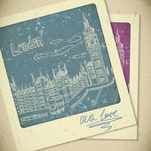 London doodles drawing landscape in vintage style — Stock Vector
