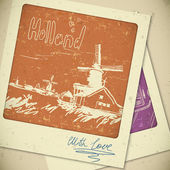 Holland hand drawn landscape in vintage style — Vetorial Stock