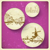Holland hand drawn landscape in vintage style — Vecteur
