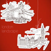 London-hand drawn landscape in vintage style — Stock Vector