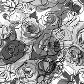 Seamless monochrome floral background — Stock Vector