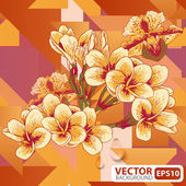 Flowers on a geometric background — Stock Vector