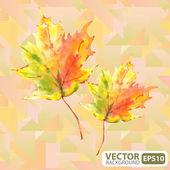 Geometrik bir arka plan üzerinde sonbahar yaprakları — Stok Vektör