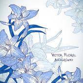 Fondo floral con lirios en estilo vintage — Vector de stock