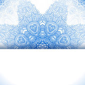 Blue winter round lace background — Stok Vektör