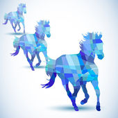 Blue abstract horse of geometric shapes — Stock Vector